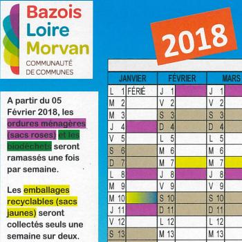Calendrier de collecte 2018